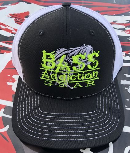 BASS ADDICTION GEAR HAT- SNAP BACK- BLACK/WHITE
