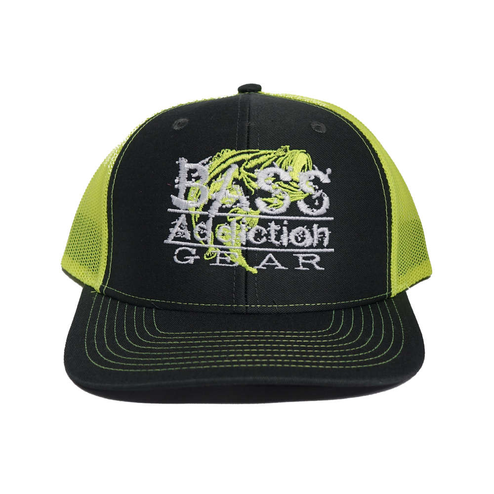 bass addiction gear hat snap back charcoal neon yellow