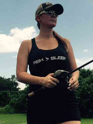 WOMEN'S BLACK FISH > SLEEP RACERBACK TANK TOP