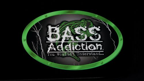 "BASS ADDICTION LIGHTNING STICKER  -  GREEN -     SMALL 7"" x 4"""