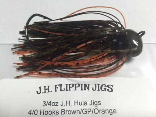 JH HULA JIGS-3/4oz Brown/Green Pumkin/Orange