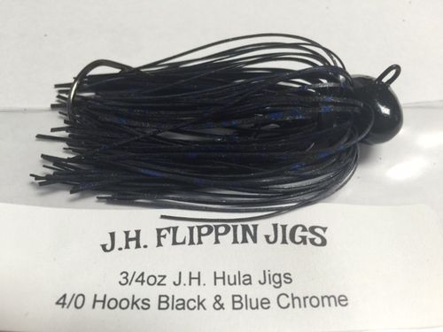 JH HULA JIGS-3/4oz- BLACK & BLUE CHROME