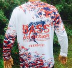 BASS ADDICTION- STAND UP- LONG SLEEVE - RED, WHITE, BLUE