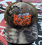 BASS ADDICTION GEAR HAT- SNAP BACK- KRYPTEK HIGHLANDER BROWN