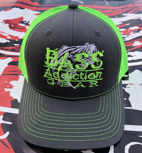 BASS ADDICTION GEAR HAT- SNAP BACK- CHARCOAL/NEON GREEN