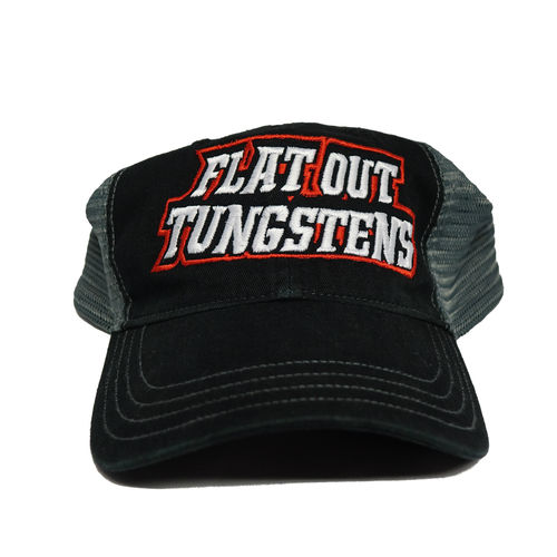 FLAT OUT TUNGSTEN HAT- SNAP BACK- BLACK/GREY NON-STRUCTURED